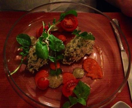 Salt cod & Clogherhead crab salad starter.
