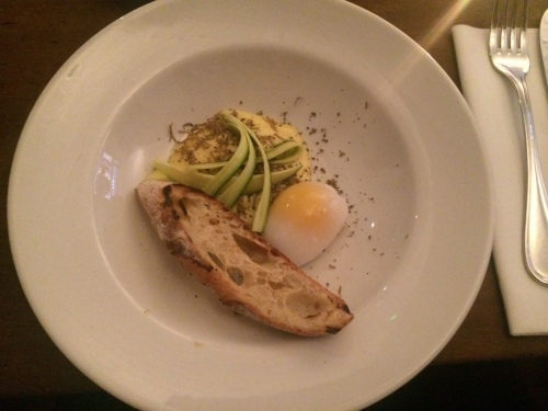 Duck egg, fonduta, courgette.